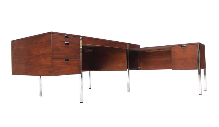 Mid-Century Modern Dunbar Large Walnut Executive Desk with Return For Sale