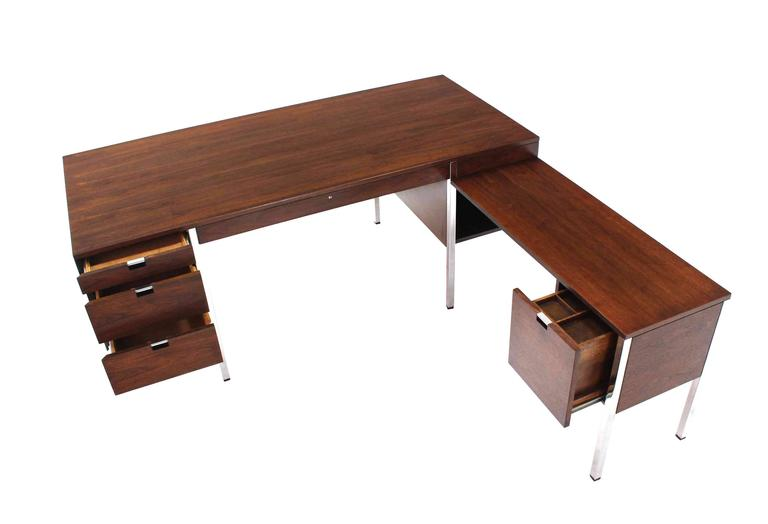 American Dunbar Large Walnut Executive Desk with Return For Sale