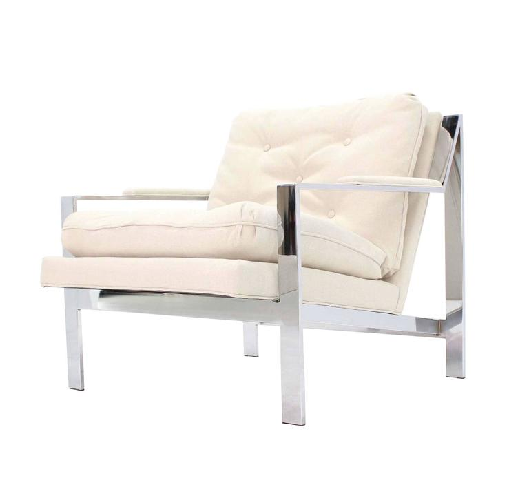 Polished Cy Mann New Upholstery Lounge Chair For Sale