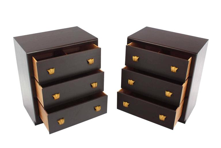 Mid-Century Modern Pair of Three Drawer Bachelor Chests For Sale