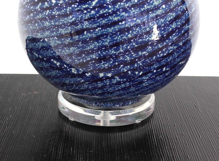 American Large Blue Art Glass Globe Table Lamp