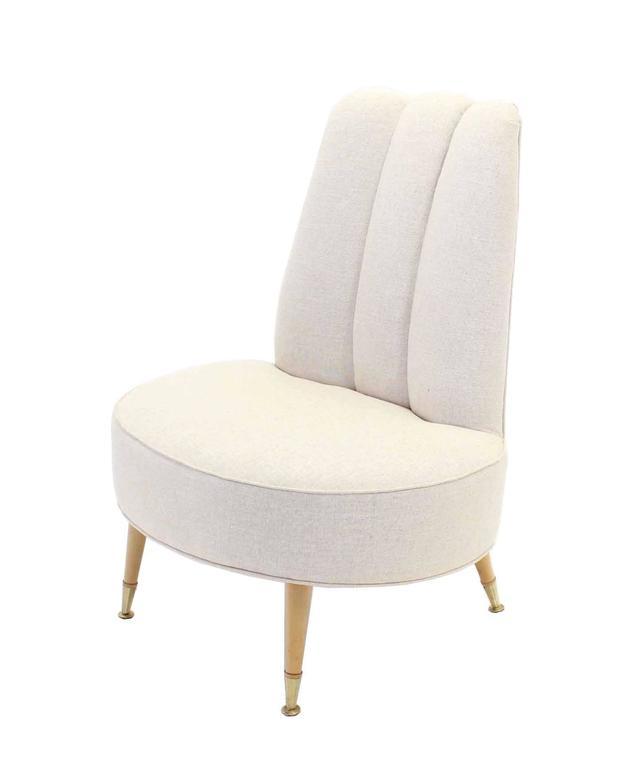 Astounding Newly Upholstered Mid Century Modern Slipper Chairs Theyellowbook Wood Chair Design Ideas Theyellowbookinfo