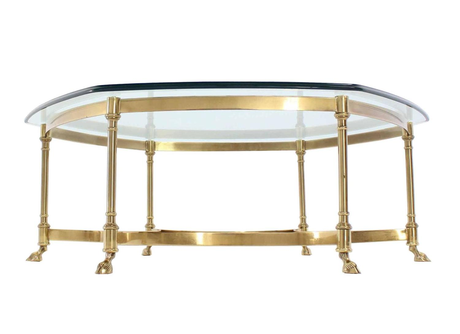 Solid Brass Hoof Feet Glass Top Coffee Table For Sale At 1stdibs