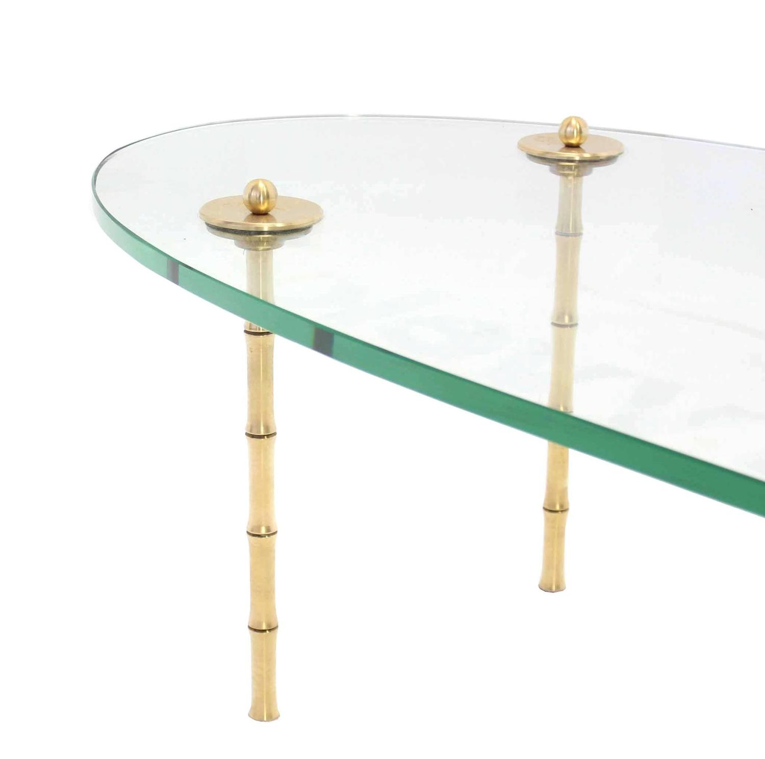 Brass Faux Bamboo Legs Thick Glass Top Coffee Table For Sale At 1stdibs