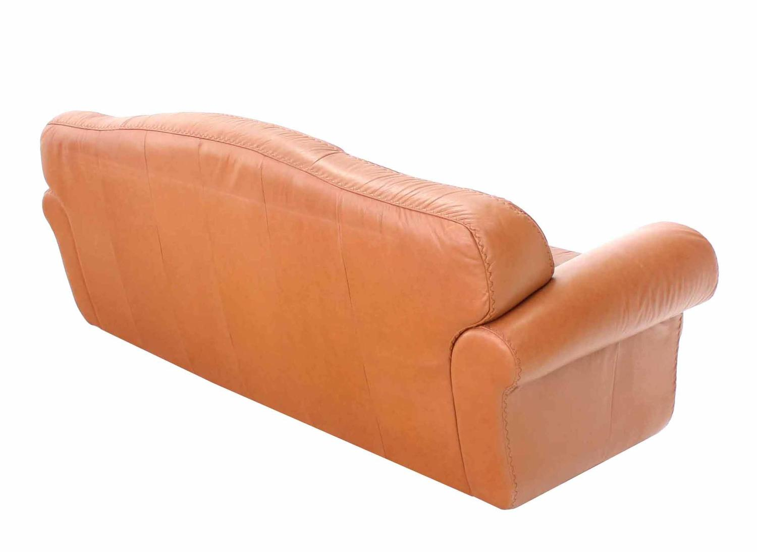 Pair of tan decorative baseball style stitching leather Baseball sofa