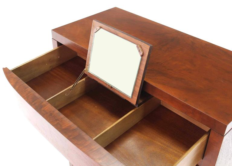 Art Deco burl walnut wood five drawer high chest with cedar drawer and lift up mirror.