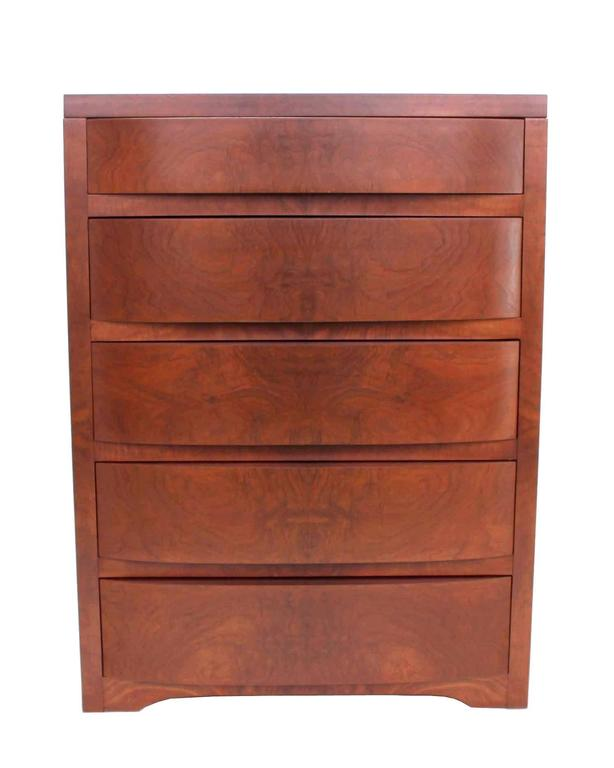 20th Century Concealed Mirror Art Deco Burl Wood High Chest Dresser Chest of Drawers. For Sale