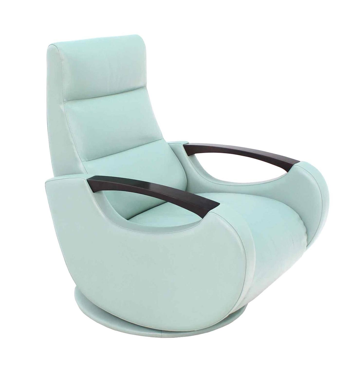 Pair of mid century modern leather recliner lounge chairs for Century furniture chaise lounge