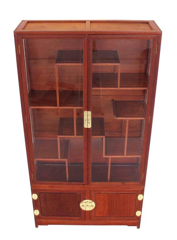 Mid Century Modern Oriental Display Cabinet With Brass