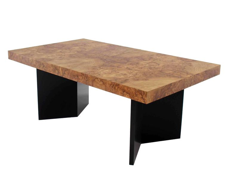 Burl Wood Dining Table Black Lacquer Base Two Extension Leaves at 1stdibs