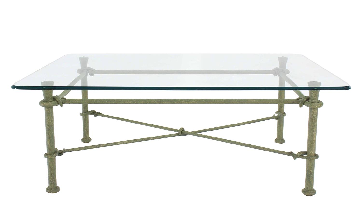 Rectangle wrought iron base glass top coffee table for for Rectangular coffee table with glass top