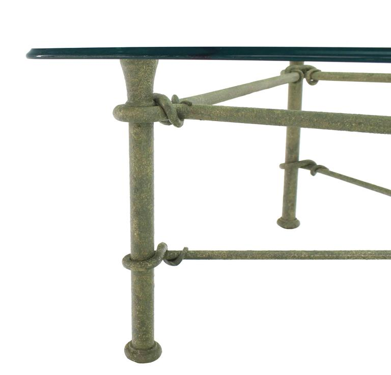 American Rectangle Wrought Iron Base Glass Top Coffee Table For Sale