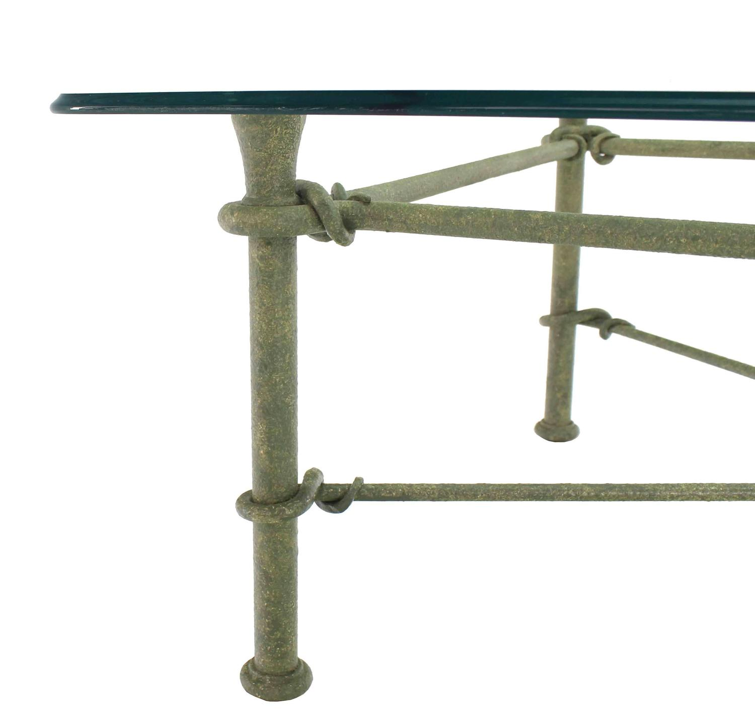 Rectangle Wrought Iron Base Glass Top Coffee Table For Sale At 1stdibs
