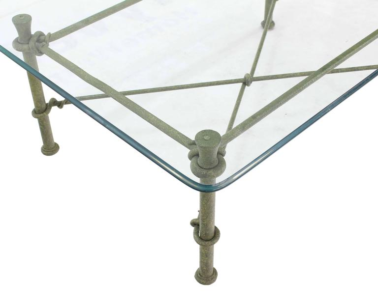 Painted Rectangle Wrought Iron Base Glass Top Coffee Table For Sale