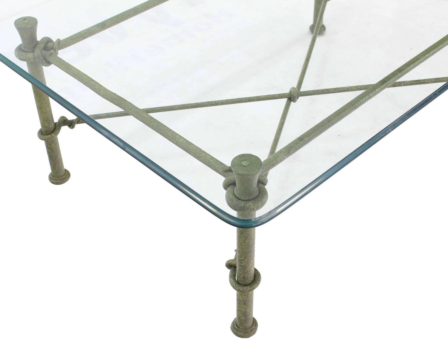 Rectangle wrought iron base glass top coffee table for sale at 1stdibs Glass coffee table base