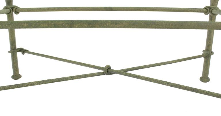 20th Century Rectangle Wrought Iron Base Glass Top Coffee Table For Sale