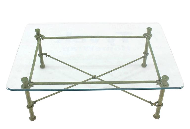 Rectangle Wrought Iron Base Glass Top Coffee Table For Sale 1