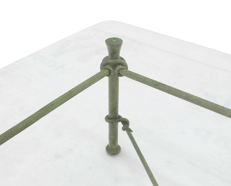 Rectangle Wrought Iron Base Glass Top Coffee Table For Sale 2
