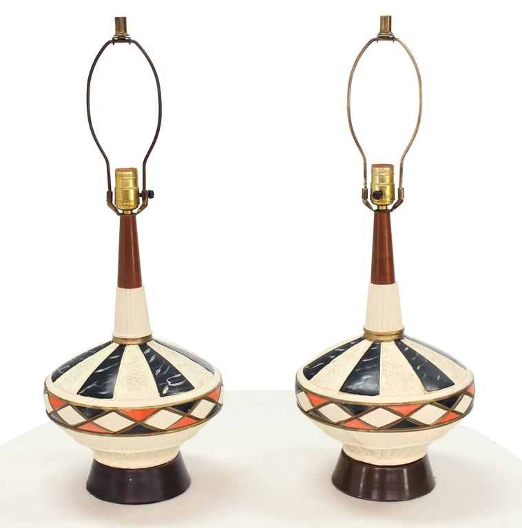 20th Century Pair of Walnut and Art Pottery Table Lamps For Sale