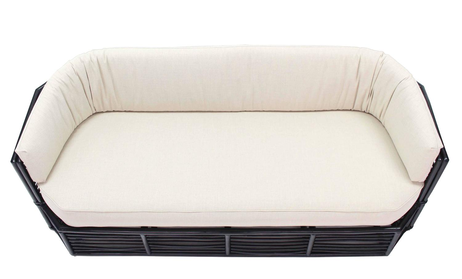 Rattan Mid Century Modern Sofa With New Upholstery For