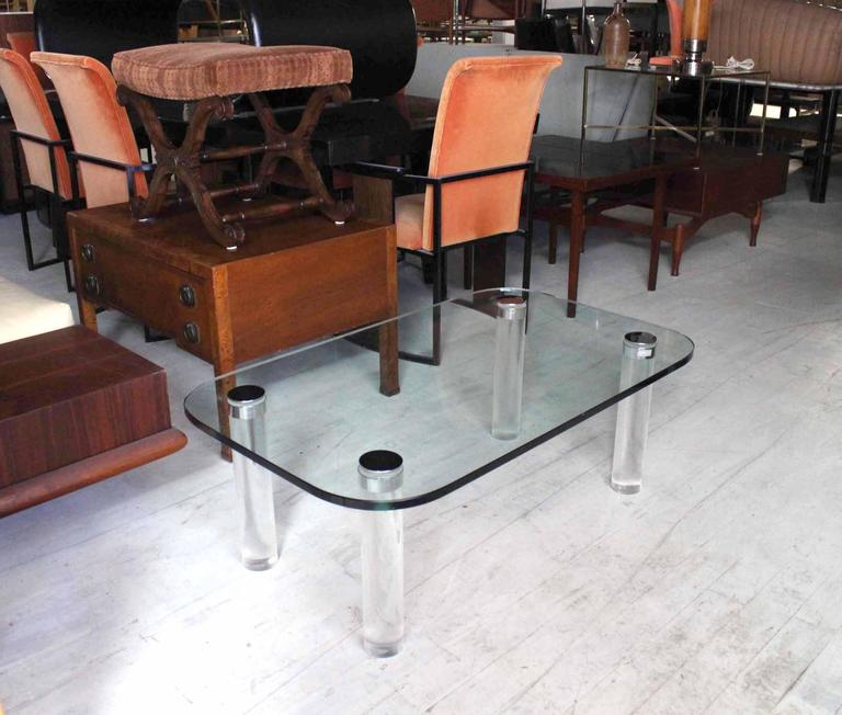 "Nice thick Lucite legs coffee table with thick 3/4"" glasstop. Rounded corners glass rectangle top."