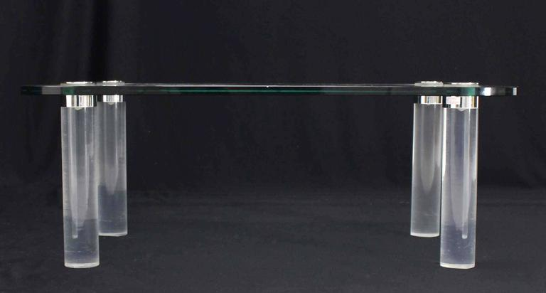 Rectangular Glass Top Lucite Cilinder Legs Coffee Table In Excellent Condition For Sale In Rockaway, NJ