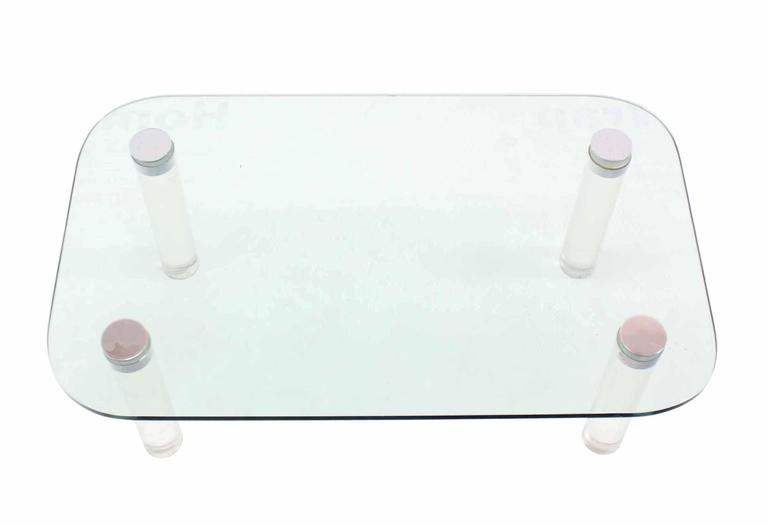 Rectangular Glass Top Lucite Cilinder Legs Coffee Table For Sale 2