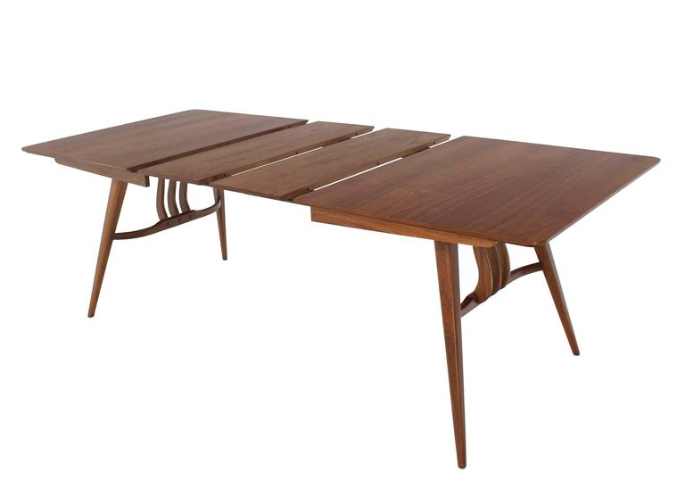 American Mid-Century Modern Walnut Sculptured Base Dining Table For Sale
