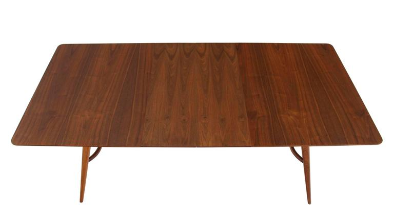 Lacquered Mid-Century Modern Walnut Sculptured Base Dining Table For Sale