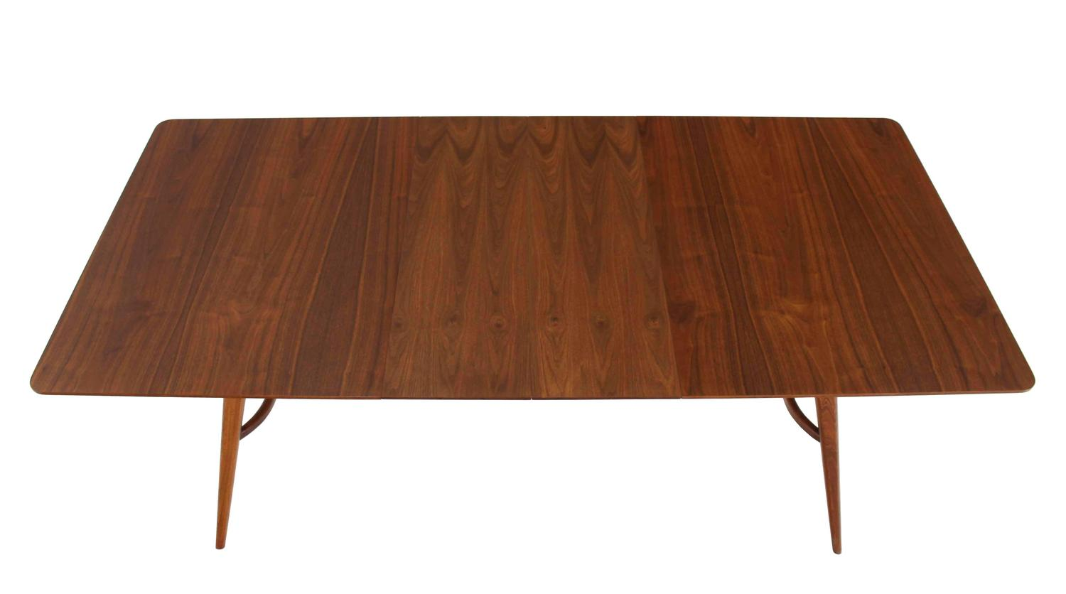 Mid century modern walnut sculptured base dining table for for Dining room table 40 x 60