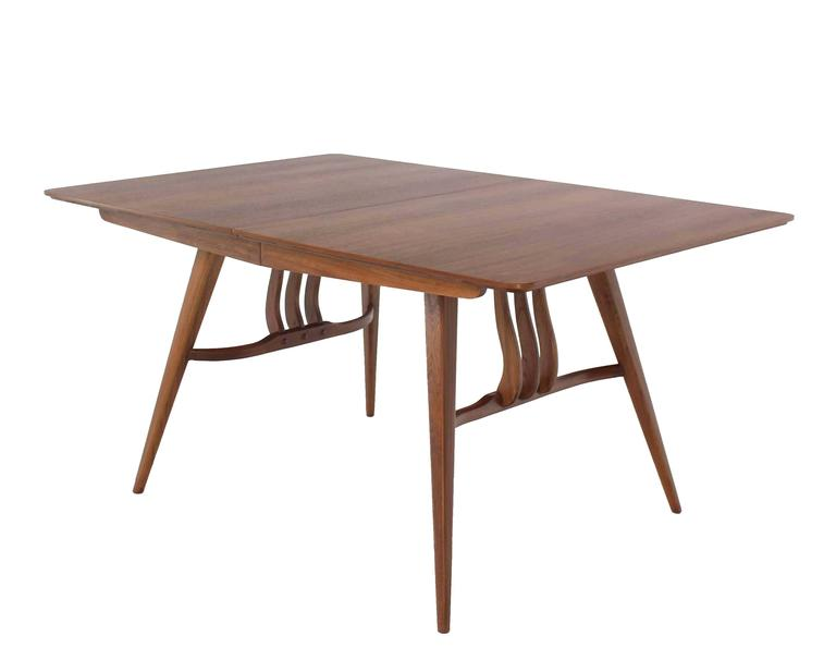 20th Century Mid-Century Modern Walnut Sculptured Base Dining Table For Sale