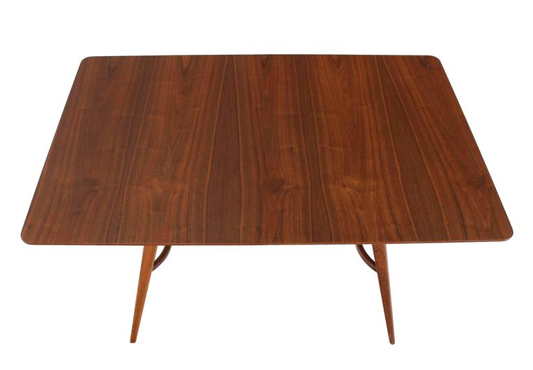 Mid-Century Modern Walnut Sculptured Base Dining Table For Sale 2