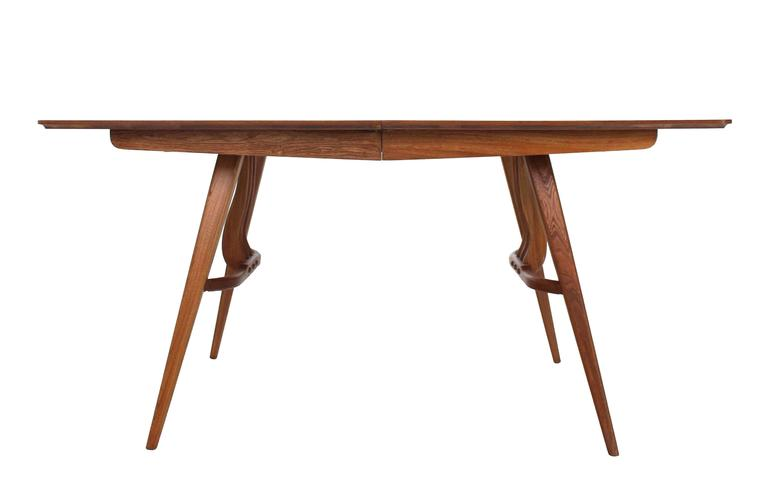 Mid-Century Modern Walnut Sculptured Base Dining Table For Sale 3