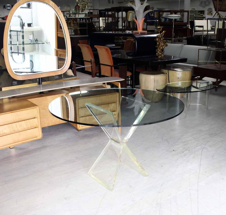 Lucite x base base gueridon center dining table for sale for Cuir center table basse