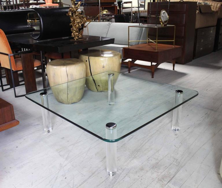 Large Square Rounded Corners Glass Top Coffee Table On