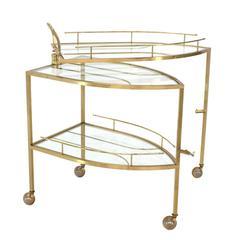 Unusual Iron Shape Folding Brass Tea Cart