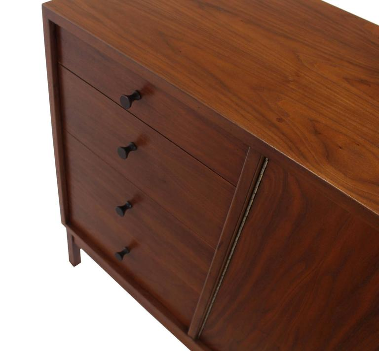 Lacquered Mid-Century Modern Walnut Long Dresser Credenza For Sale