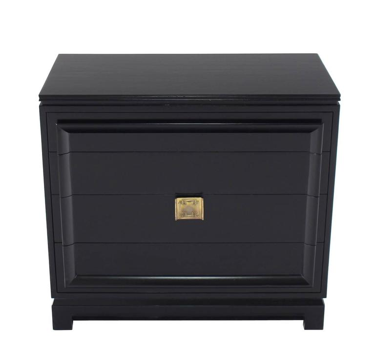 Mid-Century Modern Black Lacquer Four Drawer Bachelor Chest For Sale