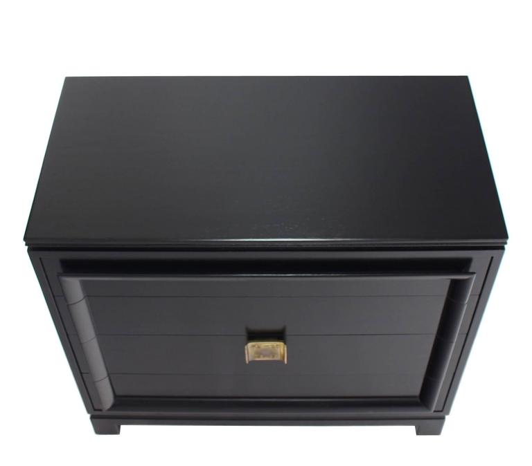 20th Century Black Lacquer Four Drawer Bachelor Chest For Sale
