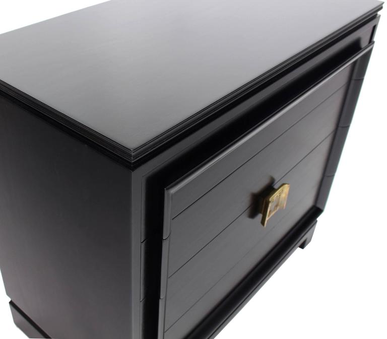 Lacquered Black Lacquer Four Drawer Bachelor Chest For Sale