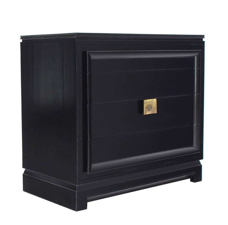 Black Lacquer Four Drawer Bachelor Chest For Sale 1