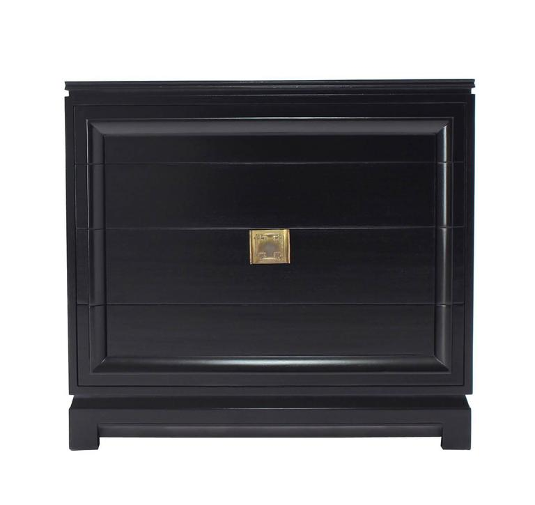 Black Lacquer Four Drawer Bachelor Chest For Sale 2