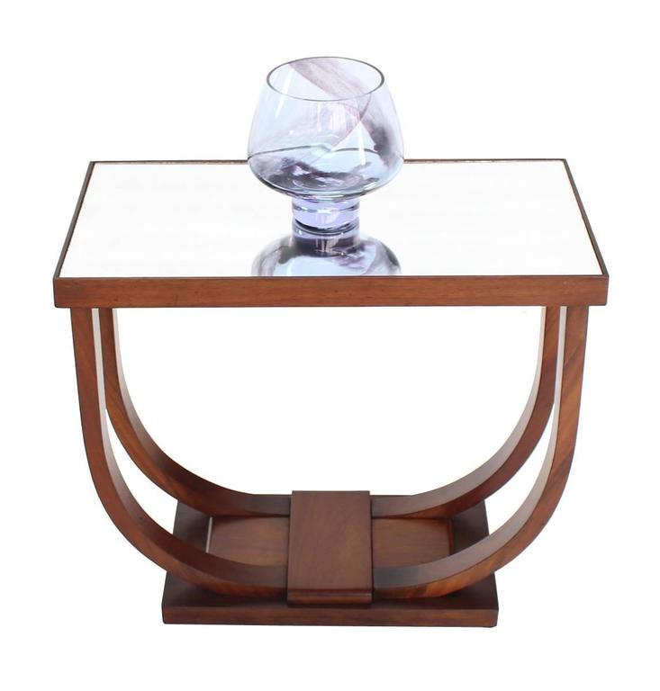 Mid-Century Modern U-Shape Glass Mirrored Top Art Deco Side Table For Sale