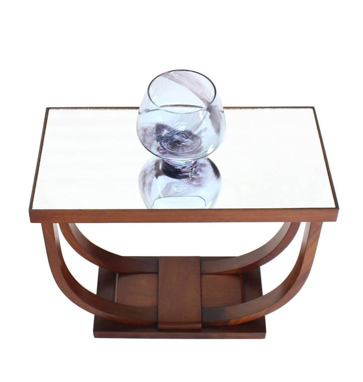U-Shape Glass Mirrored Top Art Deco Side Table For Sale 1