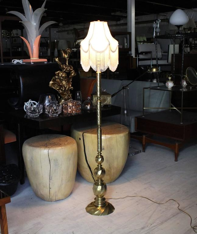 Vintage Brass Floor Lamp With Decorative Glass Beads Shade For Sale At 1stdibs