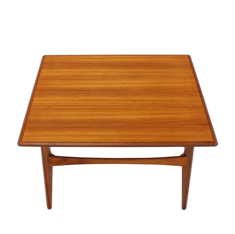 Danish Mid Century Modern Teak Square Coffee Side Table For Sale At 1stdibs