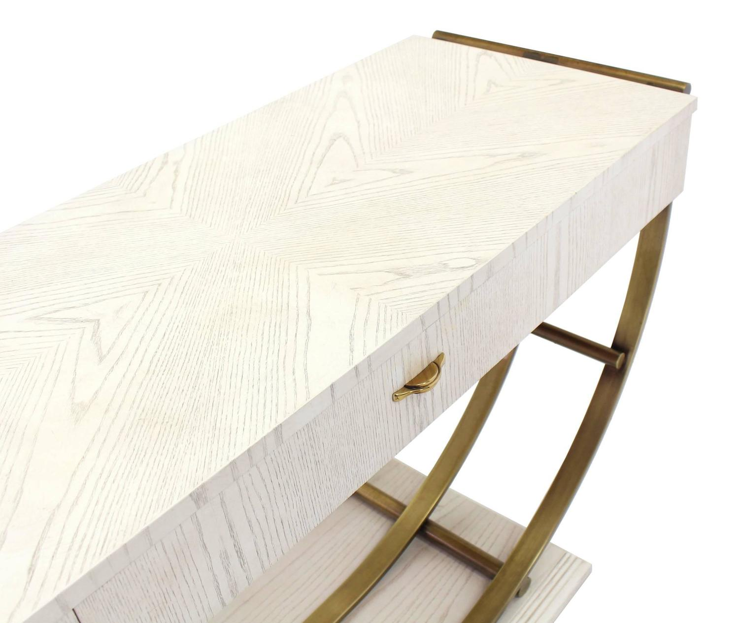 Marvelous photograph of White Pickled Oak Finish Brass U Shape Base Console Table For Sale at  with #634B2D color and 1500x1266 pixels