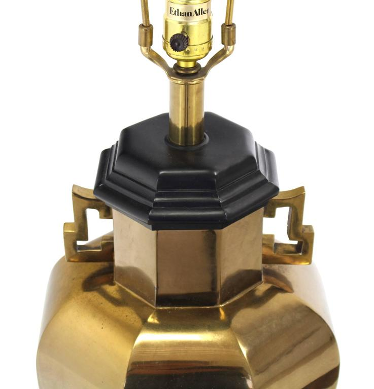 American Pair of Brass Hexagon Shape Table Lamps For Sale
