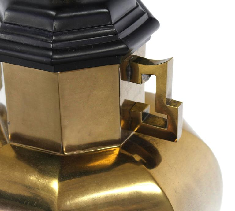 20th Century Pair of Brass Hexagon Shape Table Lamps For Sale