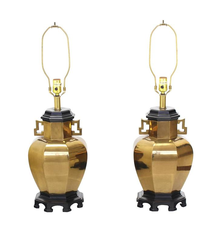 Pair of Brass Hexagon Shape Table Lamps For Sale 2